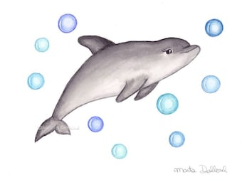 Dolphin art print. Under the sea nursery. Dolphin watercolor painting. Nautical ocean nursery art decor. Children kids room wall art decor.