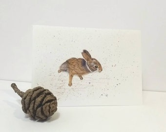 Rabbit Fine Art Card, Baby Rabbit, Cute Bunny, Animal Art, Whimsy, Animal Print, Nature, Wildlife in Watercolour