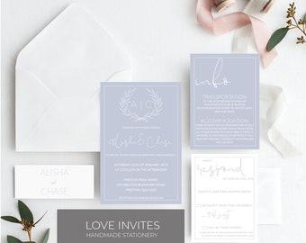 Soft blue wedding invitation | powder blue wedding invite | classic simple wedding invitation | printable wedding invitation