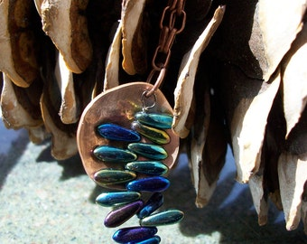 """Copper Necklace """"Fern in the Forest"""" Hand Hammered and Polished"""