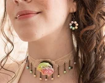 Rainbow pastel jewels - wedding necklace and earings