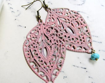 Pink Patina Earrings, Filigree Teardrop, Bohemian, Light Coral, Lacy, Large, Cottage Chic, Bridesmaid Earrings, Bridal