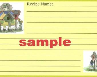 Prim Angel n Birdhouses Recipe Cards ~ R1,handmade,primitive,for gift,country,rustic,kraft,brown kraft,bridal shower,wedding,4x6,birds,