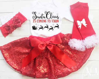 Baby Christmas Outfit Girl, My First Christmas, Baby Girl Christmas Dress, Christmas Tutu, Girls Christmas Outfit, Christmas Headband, Shirt