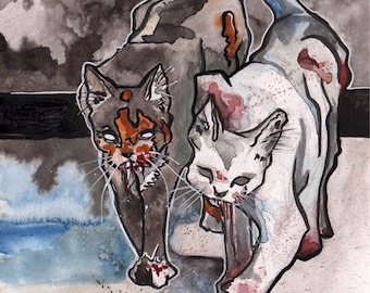 Scary Cats - Spooky Illustration of Killer Kitties - Original Watercolor and Ink Drawing of Cats - The No Sleep Podcast Art - Bloody Paws