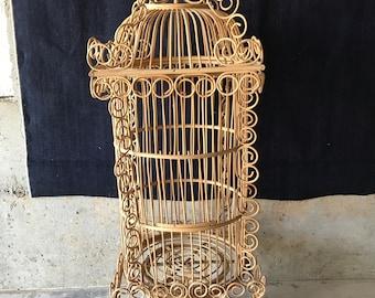 Large Vintage 4ft Rattan Wood Birdcage