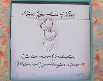 Mother Daughter Grandma Gift, Grandmother jewelry, Mother of the Bride, Gift for Grandma, Three Generations