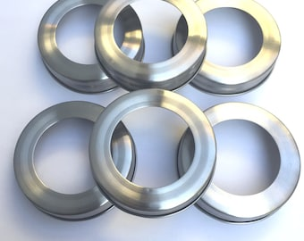 6 rust proof stainless steel lid bands for regular mouth mason, ball, and canning and conserve jars