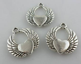 12/100pcs Antique Silver Angel Heart Charms Pendant DIY Jewelry Setting