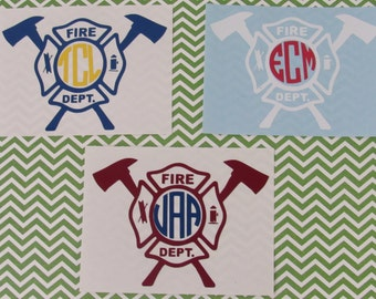 Fireman Badge Decal, Monogrammed Decal, Maltese Cross Decal, Window Decal, Water Bottle Decal, Personalized Fireman Decal, Badge Decal