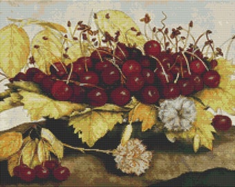 Fruit Cross Stitch Chart, A Dish of Cherries and Carnation Cross Stitch Pattern PDF, Art Cross Stitch, Giovanna Garzoni, Embroidery Chart