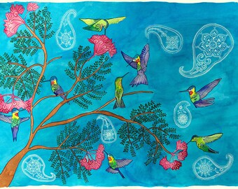 Hummingbirds: Watercolor Archival Print- Bird Illustration- Giclee Print