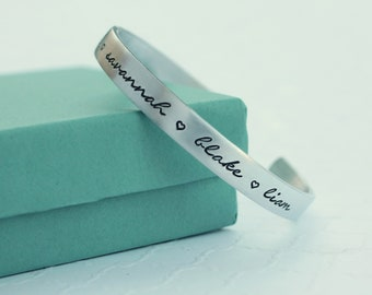 Personalized Cuff Bracelet - Custom Name Bracelet- Mothers Bracelet - New Mother Mom Gift - Kids Name