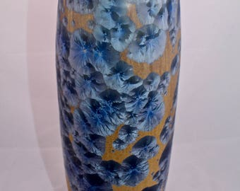 Tall porcelain vase with blue crystalline glaze. Handmade