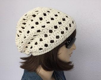 Women Crochet Summer Hat Women Summer Slouchy Beanie in Off White (Cream) Natural Color Cotton Yarn Women Spring Hat