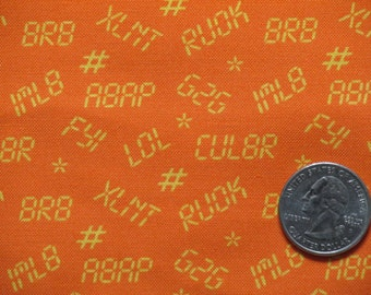 "1 yard michael miller Cotton Fabric Text Messages Print ""TXT MSG"" 45"" wide BTY Orange Yellow"
