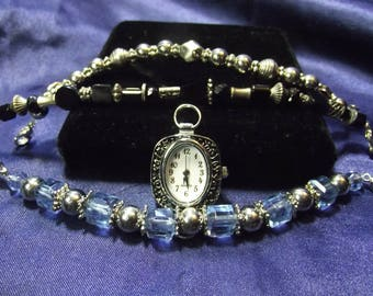 Woman's Quartz Watch with 3 Beaded Bands (Blue & Silver) B082