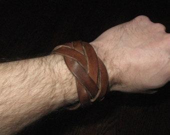 5 strand mystery braid leather wristband