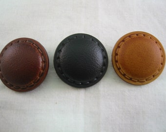 """Leather Buttons 3/4"""" (18mm) Shank Button Lot of 6 - Pick color"""