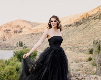 Black Wedding Dress, Tulle Skirt, Train, TWILIGHT, Black, Grey, White, Ivory FREE SHIPPING!