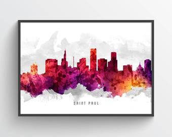 Saint Paul Skyline Poster, Saint Paul Cityscape, Saint Paul Print, Saint Paul Art, Saint Paul Decor, Home Decor, Gift Idea, USMNSP14P