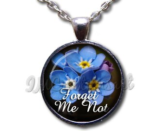 Forget Me Not Flowers Glass Dome Pendant or with Chain Link Necklace NT139