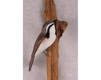 Black Throated Sparrow - right facing. Handcrafted, carved  wooden bird, painted bird, home decor, wall decor, Made in USA