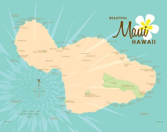 Maui map etsy maui hi map turquoise canvas print thecheapjerseys Image collections