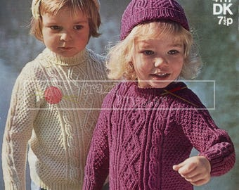 Child's Cable Sweater and Cap 2-4 years DK Sirdar 4117  Knitting Pattern PDF instant download