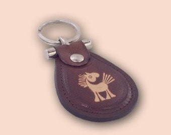 Leather metal T keychain with small horse