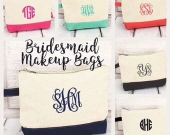 Monogrammed Makeup bags , bridesmaid make-up bags, monogrammed bag, wedding bag , bridesmaid gifts , personalized bridesmaid gifts