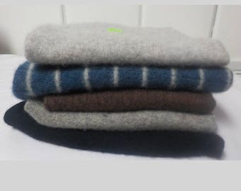Upcycled Felted Cashmere Sweater Pieces - Blue, Gray, Black and Brown