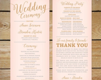 Blush Pink and Gold Wedding Program Printable // Printable Wedding Program, Modern Calligraphy Wedding Programs