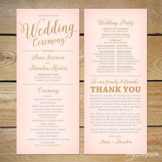 Blush Pink And Gold Wedding Program Printable  Printable