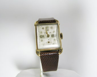 c727 1940's Cardinal Watch by Harmon Watch Co with Crystal Dial