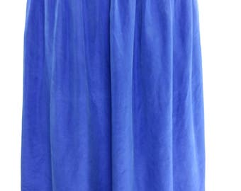 1980's Vintage 100% Silk Royal Blue Skirt - Large