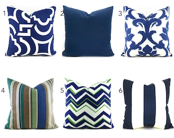 Outdoor Pillows Outdoor Pillow Covers Decorative Pillows ANY SIZE Pillow Cover Navy Outdoor Pillows Outdoor Navy Blue You Choose