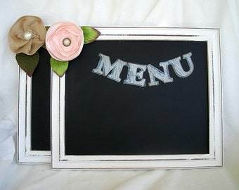 Chalkboard Wedding Sign Large Wedding Table Sign Distressed Menu Gifts Direction Sign w Stand Shabby Chic White Rustic Wood Table Sign