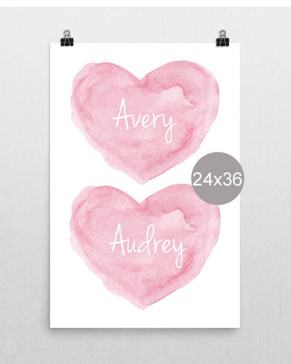 Sisters Posters in Pink, 24x36, Personalized