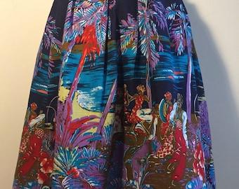 Vintage 70s does 50s Novelty Print Skirt M L