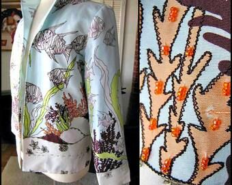 Kulakula silk jacket / vintage silk beaded jacket / Silk print jacket / Tropical Sea print jacket / fits L-XL / Underwater print jacket