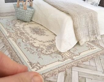 Miniature floor rug - vintage duck egg blue   - Dollhouse - Diorama - Roombox - 1:12 scale