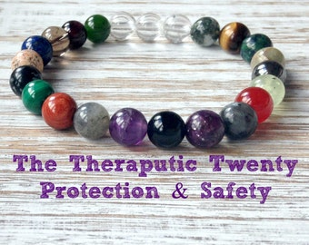 The Therapeutic Twenty Protection & Safety Bracelet, Healing Crystals, Stress Relief, Protective Mala Beads, Protection from Negativity