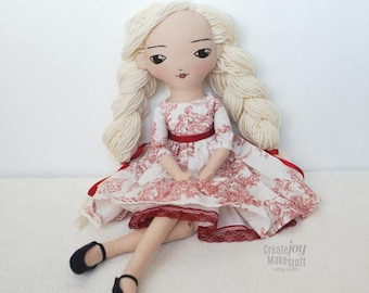 "Simone ~ 16"" Handmade Heirloom Cloth Doll - Ready to Ship - Rag doll - jointed, fabric, red, white, toile, blonde hair, gift, tea party"