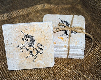 Unicorn Coasters, Unicorn Home Decor, Absorbent Coasters, Set of 4 Stone Coasters, Tile Coasters, White Elephant Gift, Personalized Coasters