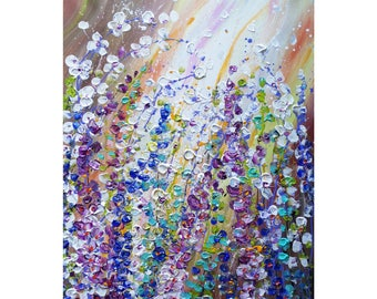 Spring Flowers Painting Abstract Impasto Textured Floral Canvas by Luiza Vizoli Windy Flowers