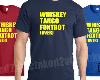 whiskey tango foxtrot over tshirt veterens military mens tshirts