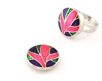 snap snap pink blue and purple cabochon 20 mm