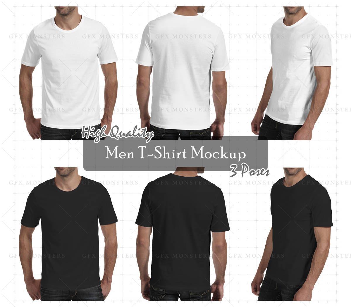 Men tshirt mockup png psd front back perspective for Front and back t shirt mockup