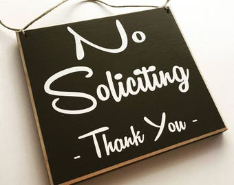 8x8 No Soliciting Thank You (Choose Color) Shabby Chic Sign